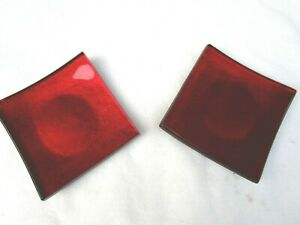 RED SQUARE GLASS PILLER CANDLE HOLDER FROM KOHLES 6X6X 13/4