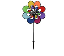 Spectrum Double Windee Wheelz - Ground Stake Included - Colorful Flower Spinner