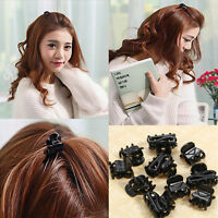 10 Fashion Chic Mixed Small Plastic Black Hair Clips Hairpin Claws Clamps
