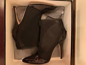 ROBERTO CAVALLI Black ANKLE BOOTS Sz 38 or 8,  NEW