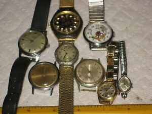 vintage junk drawer lot,mechanical watches,Mickey Mouse,Elgin,Esetkor,Benrus,old
