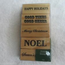 RECOLLECTIONS 5 pc Rubber Stamps Christmas Noel Season's Greetings Phrases