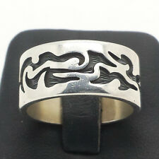 Flame Design Mens Etched Band Sterling Silver 925 Ring 13g Sz.9 X017