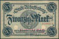 Aschaffenburg 20 Mark ohne Datum/Jahr rote 5stellige Kenn Nr.10946, II-III