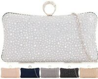 WOMEN DIAMANTE CRYSTAL CLUTCH BAG HARD COMPACT LADIES BRIDAL EVENING PARTY PROM