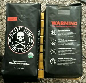 Two One Pound Bags Death Wish Coffee USDA Certified Whole Bean