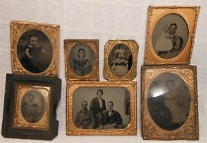 7 Good Antique Tintype Photos Largest Quarter Plate