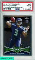 2012 TOPPS CHROME Russell Wilson #40 STANDS BACKGROUND ROOKIE RC PSA 9 MINT