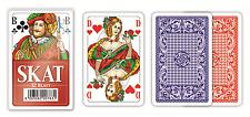 2er SET: 2 x SKAT Spielkarten 100% Plastik MODIANO, Französisches Bild, blau/rot