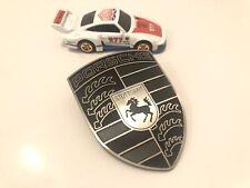 Porsche 911 930 944 987 997 SC Turbo Bonnet Hood Crest Emblem Black Outlaw Logo