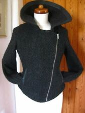 Ladies LIMITED COLLECTION M&S wool mix black JACKET COAT size UK 6 biker bomber