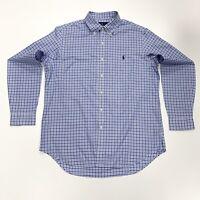 Ralph Lauren Men's Check Plaid Cotton Twill Shirt In Blue/White Size L