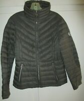Women's MICHAEL KORS Jacket Packable Down Nylon Gray Full Zip Puffer Coat Size S