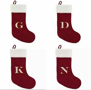 Alphabet Christmas Stockings with Gold Embroidery Letters Red Velvet (Assorted)