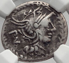 Roman Republic 101BC Rome Authentic Ancient Coin ROMA Victory CHARIOT NGC i61944