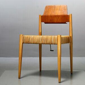 1 (v. 20) Holz- und Weidenstuhl Egon Eiermann für Wilde+Spieth SE119 Vintage