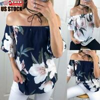 Women's Casual Off Shoulder T Shirt Ladies Floral Short Sleeve Blouse Tops Tee