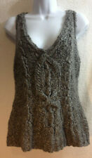 Anne Klein Med Gray Braided Extra Fine Merino Wool Pull Over Sweater Vest Vntg