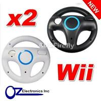 2x Wii WHITE BLACK Racing Steering Wheel for Nintendo Wii U Remote Controller AU