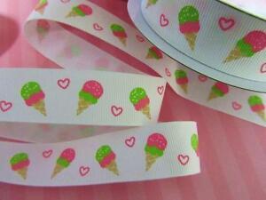 "10 yards Ice-Cream & Heart Grosgrain 7/8"" Ribbon/paper craft/scrapbook R35-White"