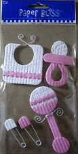 NEW 5 pc PRECIOUS BABY Pink Pacifier Bib Rattle Pins PAPER BLISS 3-D Stickers