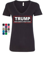 TRUMP Women's V-Neck T-Shirt Make America Great Again