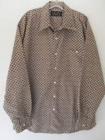 Bogari Studio Men's Size Large Geometric Long Sleeve Button-Front Blouse Italy