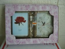 "3.5x5"" Photo Frame Silver color Desk clock New in Box but with a corner broken"