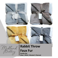 Soft Faux Fur Mink Throw Blanket Bedspread for Bed Sofa Double Size 150x200 cm