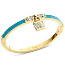 ❤️ Michael Kors Turquoise Padlock Gold Tone Womens Bracelet MKJ3303710 + POUCH