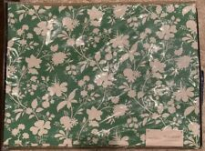 """Set of 4- Threshold Artistic Green Floral Placemats 14"""" X 19"""" With Navy Accent"""