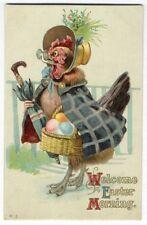 EASTER Dressed Chicken Postcard c 1910 Anthropomorphic Fancy Hat Umbrella