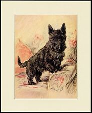 SCOTTISH TERRIER SCOTTIE DOG ON SOFA LITTLE DOG PRINT MOUNTED READY TO FRAME
