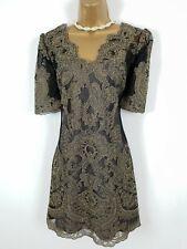 Karen Millen Black Gold Embroidered Dress UK 10