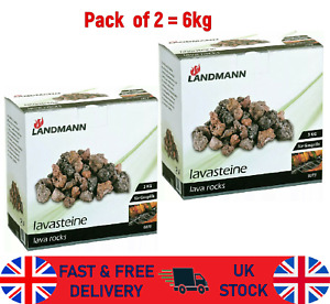 Landmann Lava Rock Pack Gas Barbecue Coal Replacement BBQ Fire Camp Burner 6Kg