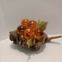 Vintage Large Orange Grape Cluster Lucite Glass on Driftwood Mid Century 10 inch