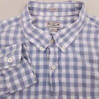J.Crew Mens Button Up Shirt Long Sleeve XL Extra Large Slim Fit Plaid Blue White
