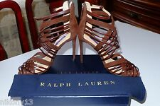 $850 NIB Authentic RALPH LAUREN Collection SUEDE BLIARA SANDAL Brown, 7,5B,Italy
