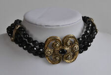 Vintage VICTORIAN revival signed Vo USA black jet glass brass 3 row Necklace