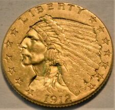 1912 $2.50 Gold Indian Quarter Eagle, High Grade, Lustrous 2 and 1/2 Type Coin