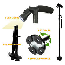 All Terrain LED Folding Walking Cane- Ultra Bright Built-In LEDs-Folds in Second