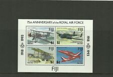 FIJI SGMS877 75TH ANNIV OF ROYAL AIR FORCE MINISHEET MNH