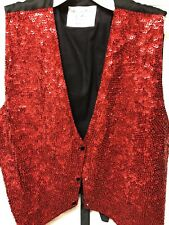 """RED SEQUIN VEST IRRIDESENT Sz Lg Made In Houston By """"Accessories Decor"""" NEW!"""