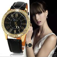 Fashion Women's Geneva Watches Stainless Steel Analog Leather Quartz Wrist Watch