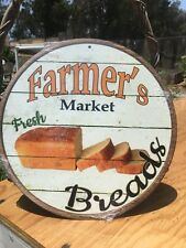 Farmers Market Fresh Breads Round Sign Tin Vintage Garage Bar Decor Old Rustic