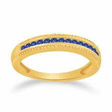 1/3 Ct Round Blue Sapphire 10K Solid Yellow Gold Anniversary Band