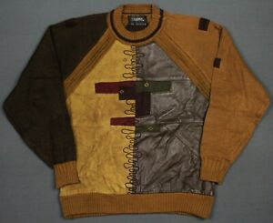 Vintage 80's-90's Saxony Leather Accent Pullover Sweater Medium