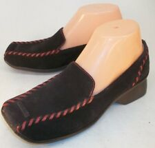 Indigo x Clarks Womens US 6M Brown Suede Red Stitch Slip On Loafers Casual Shoes