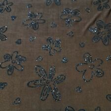 """Brown Glitter Floral Print ITY Lycra Stretch Dress Craft Fabric 58"""" By The Meter"""
