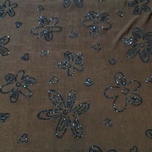 "Brown Glitter Floral Print ITY Lycra Stretch Dress Craft Fabric 58"" By The Meter"
